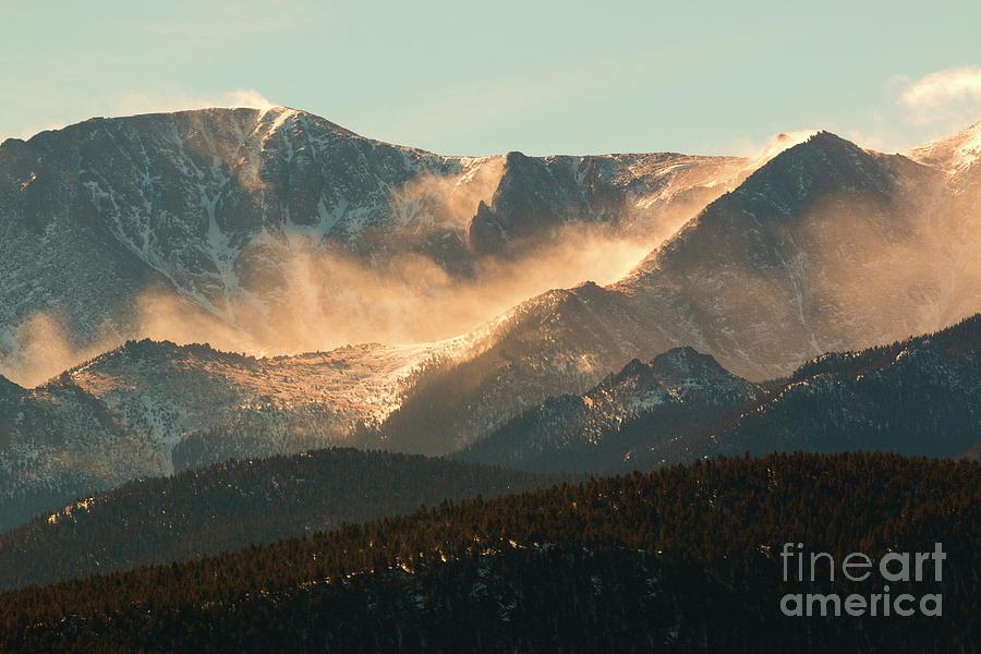 Blowing Snow On Pikes Peak Colorado Photograph