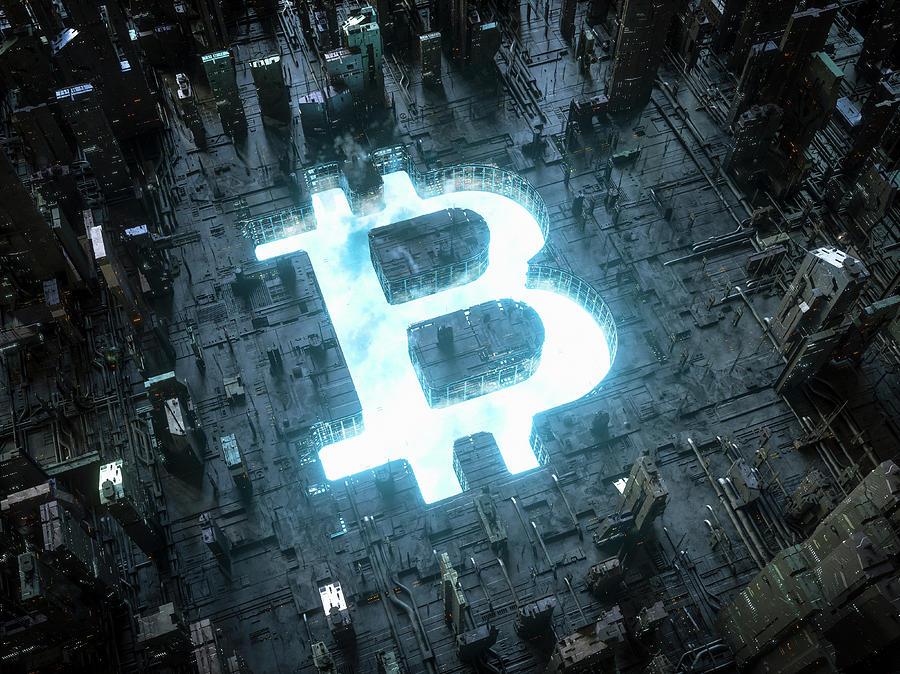 Blue Sky Bitcoin Symbol Shining by IKON IMAGES