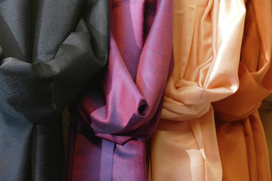 Brightly colored scarfs and veils  in the  Silk bazaar by Steve Estvanik