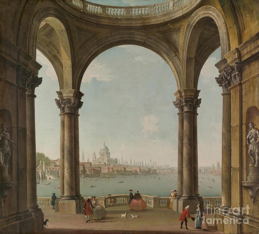 Capriccio Painting - Capriccio With St. Pauls And Old London Bridge by Antonio Joli