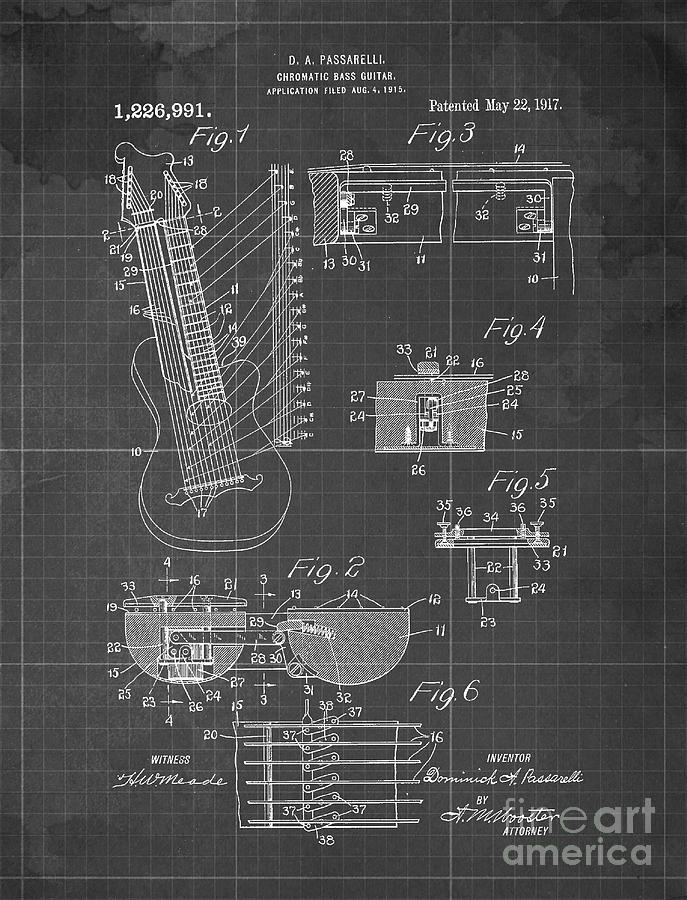 Chromatc Bass Gutar Patent Year 1917 Drawing