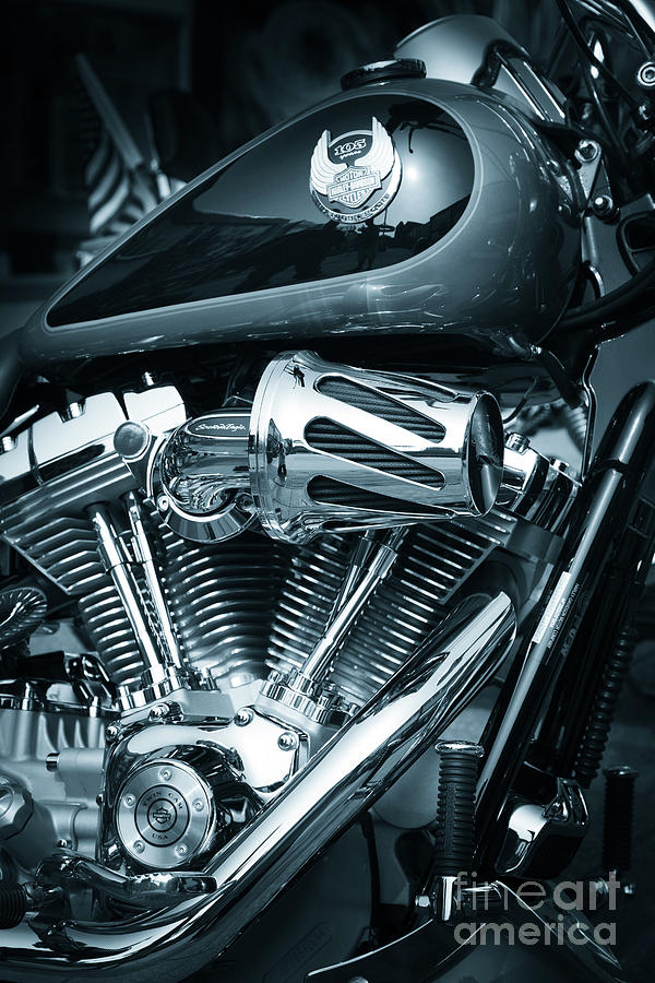 harley davidson motorcycle v twin chromed engine by Peter Noyce