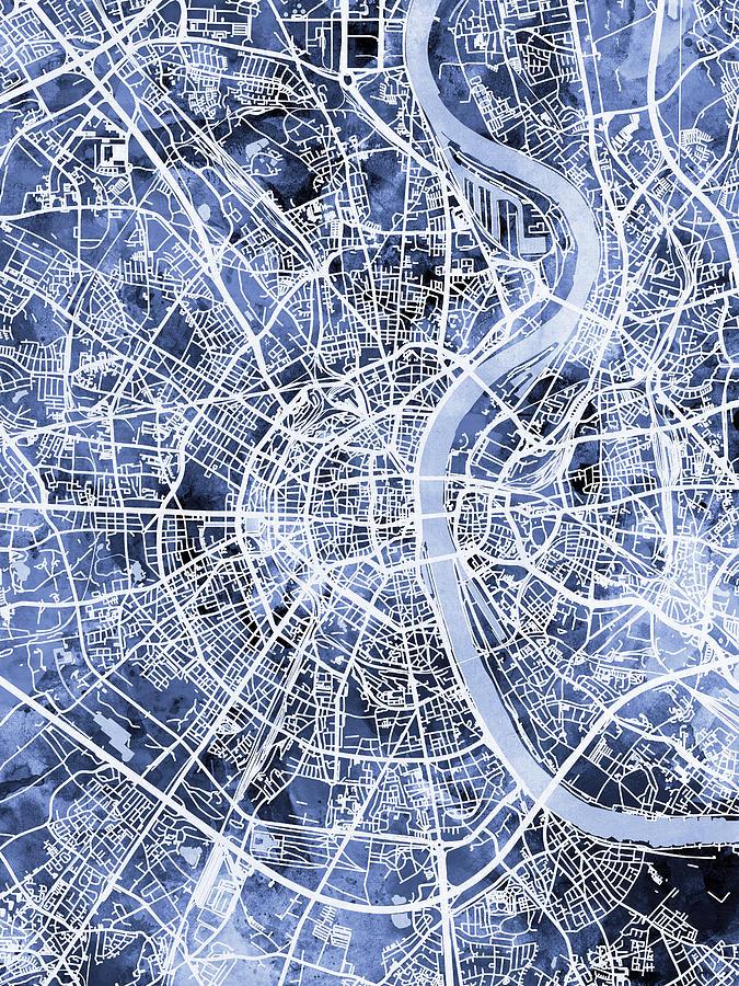 Cologne Germany City Map Digital Art By Michael Tompsett