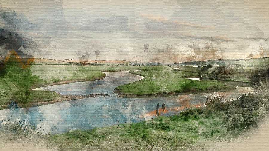 Landscape Photograph - Digital Watercolor Painting Of Beautiful Dawn Landscape Over Eng by Matthew Gibson