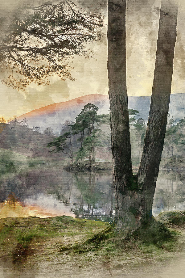 Landscape Photograph - Digital Watercolor Painting Of Beautiful Landscape Image Of Tarn by Matthew Gibson