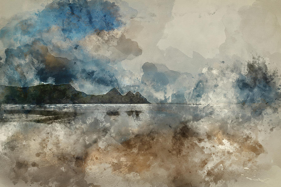 Three Cliffs Bay Photograph - Digital Watercolor Painting Of Beautiful Summer Sunrise Landscap by Matthew Gibson