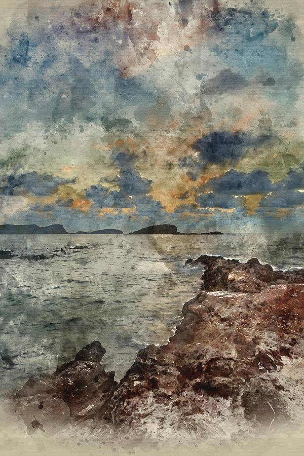 Landscape Photograph - Digital Watercolor Painting Of Sunrise Over Rocky Coastline On M by Matthew Gibson