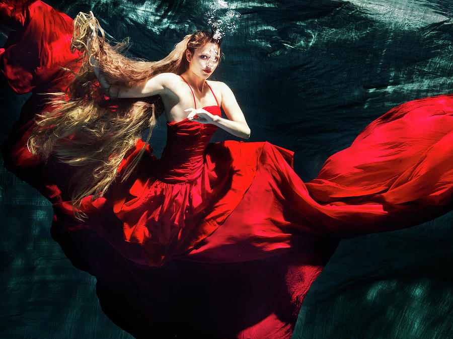 Female Dancer Performing Under Water Photograph by Henrik Sorensen