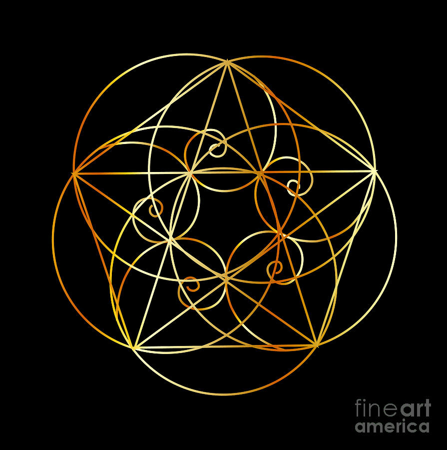 Fibonacci Spiral- The Sacred Geometry Digital Art by Shawlin