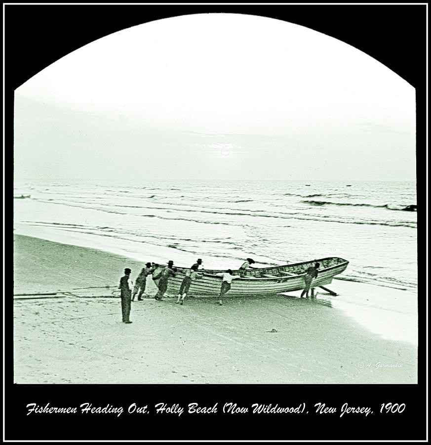 Fishermen Heading Out, Holly Beach, New Jersey, 1900 by A Gurmankin