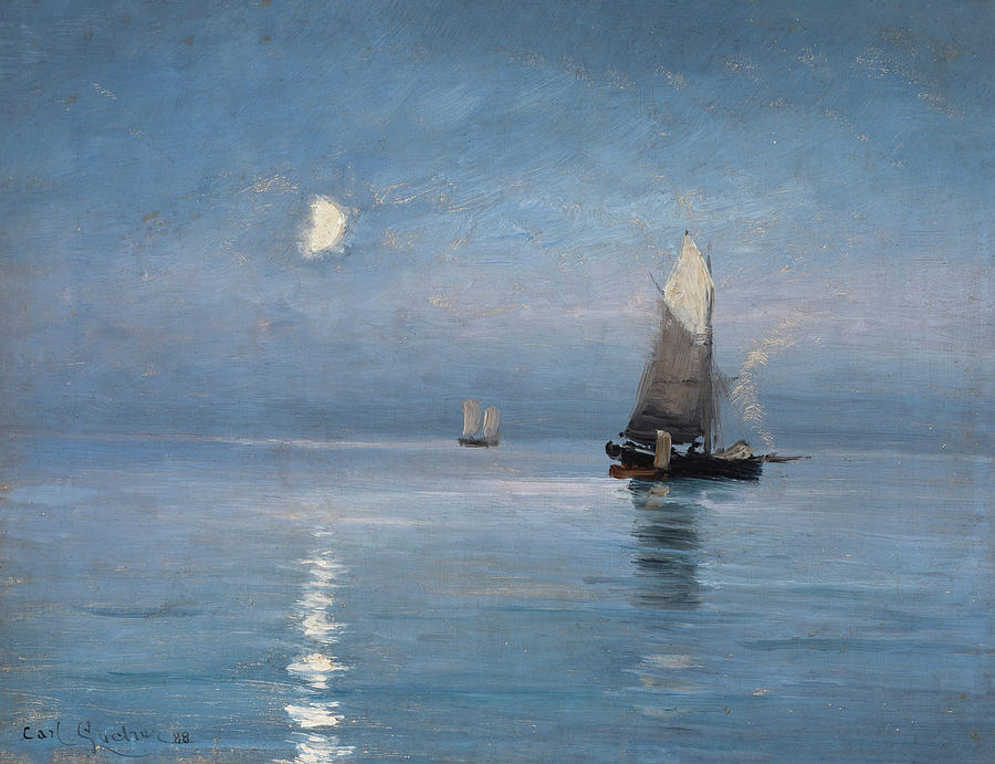 Fishing Cutters in the Moonlit Night by Carl Locher