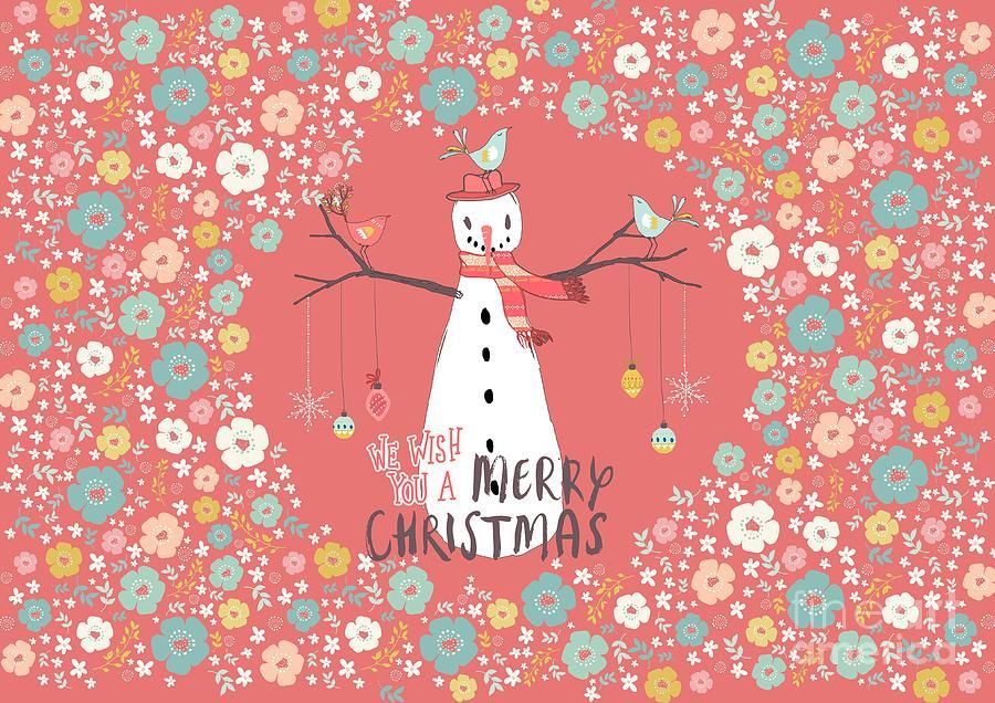 Snowman Mixed Media - Flower Power Christmas Snowman 3 by Amanda Lakey