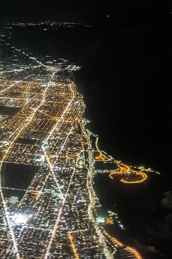 flying over chicago illinois at night by ALEX GRICHENKO