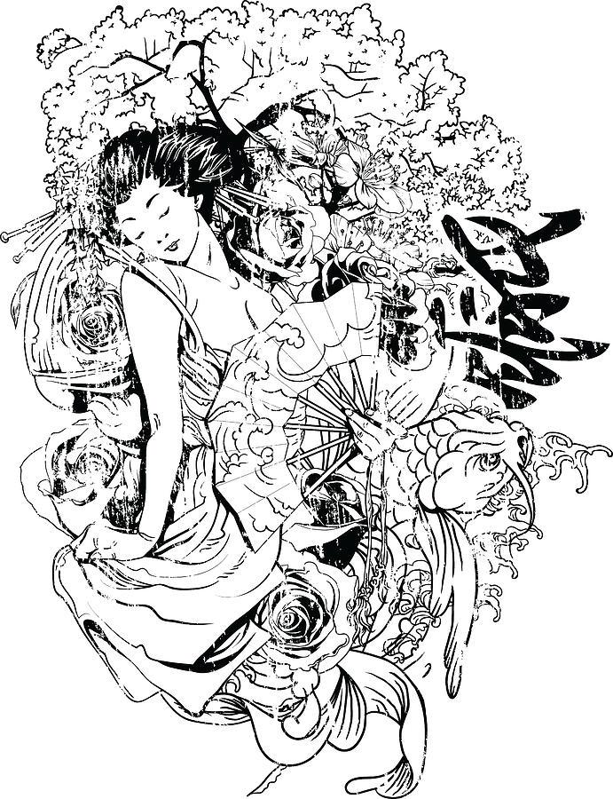 Japanese Digital Art - Geisha by Passion Loft