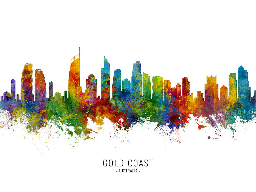 Gold Coast Digital Art - Gold Coast Australia Skyline by Michael Tompsett