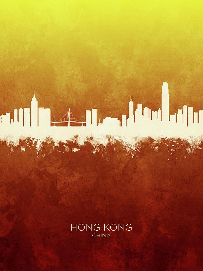 Hong Kong Digital Art - Hong Kong China Skyline by Michael Tompsett