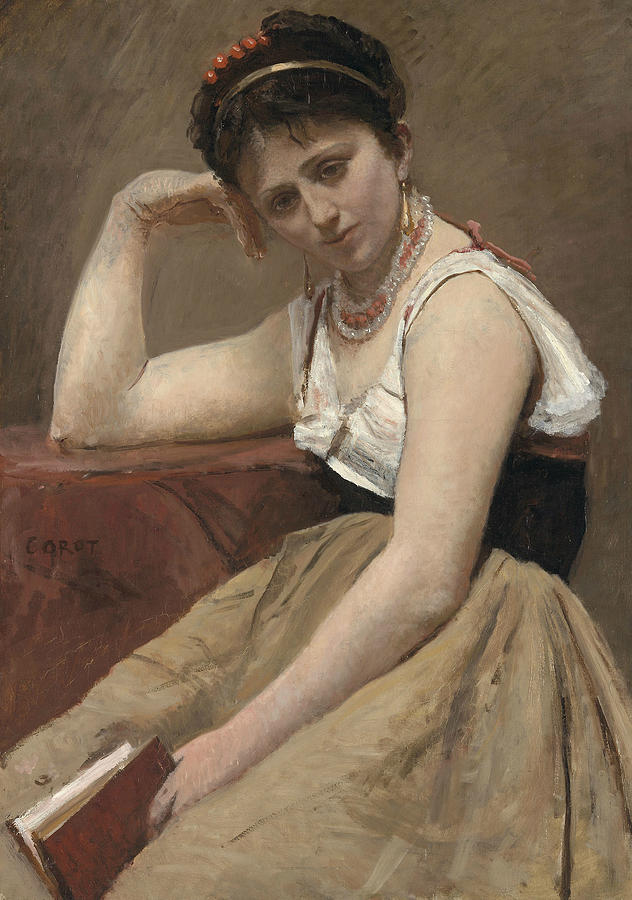 Interrupted Reading by Jean-Baptiste-Camille Corot