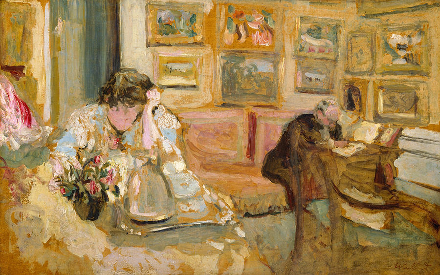 Edouard Vuillard Painting - Jos And Lucie Hessel In The Small Salon  Rue De Rivoli  by Edouard Vuillard