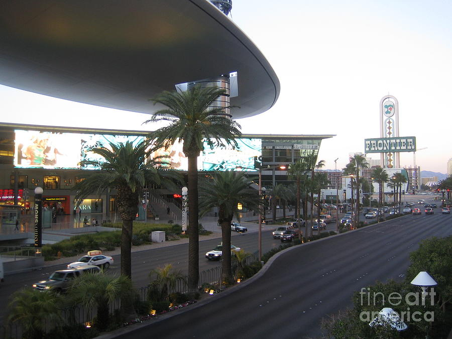 Las Vegas Frontier Hotel Sunset View Casino Buildings Hotels Street Cars Scene Las Vegas Blvd 2008 by John Shiron