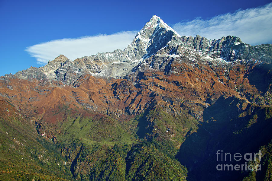 Machapuchare mountain Fishtail in Himalayas range Nepal by Raimond Klavins