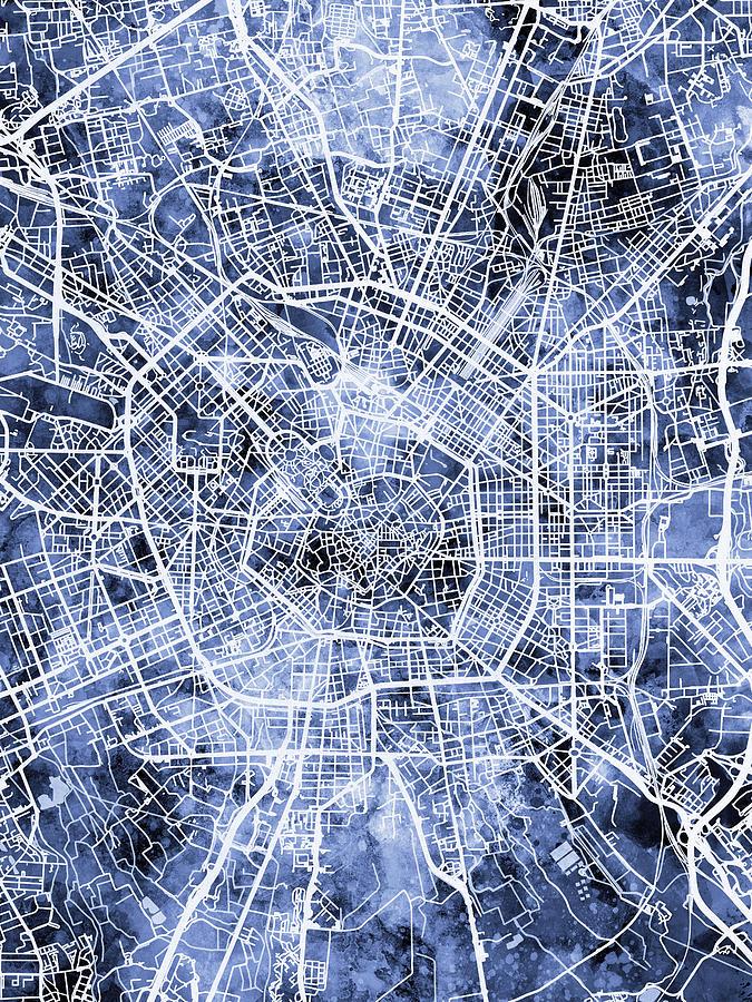 Milan Italy City Map Digital Art by Michael Tompsett
