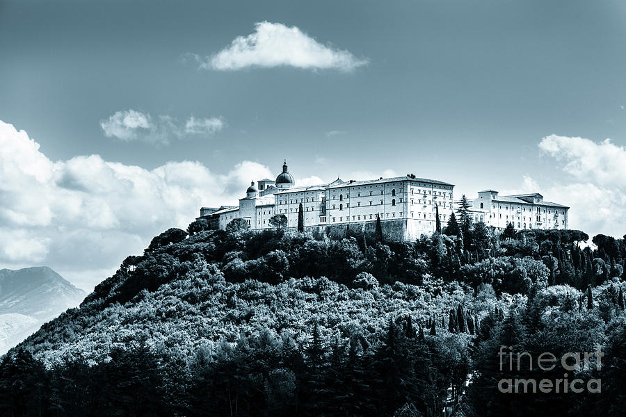 Monte cassino  abbey on top of the mountain by Peter Noyce