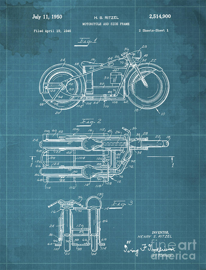 Motorcycle And Side Frame Patent Drawing