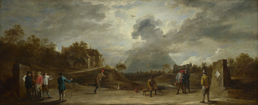 David Teniers The Younger Painting - Peasants At Archery  by David Teniers the Younger