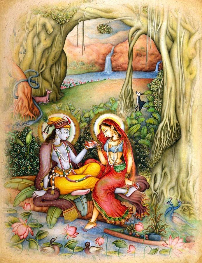 Radha Krishna Romance Painting By Vishal Gurjar