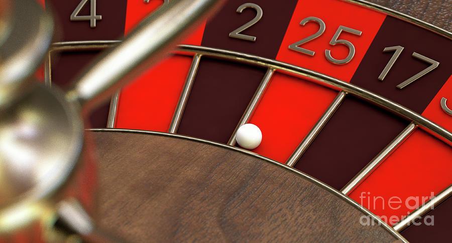 Roulette Digital Art - Roulette Wheel Closeup by Allan Swart