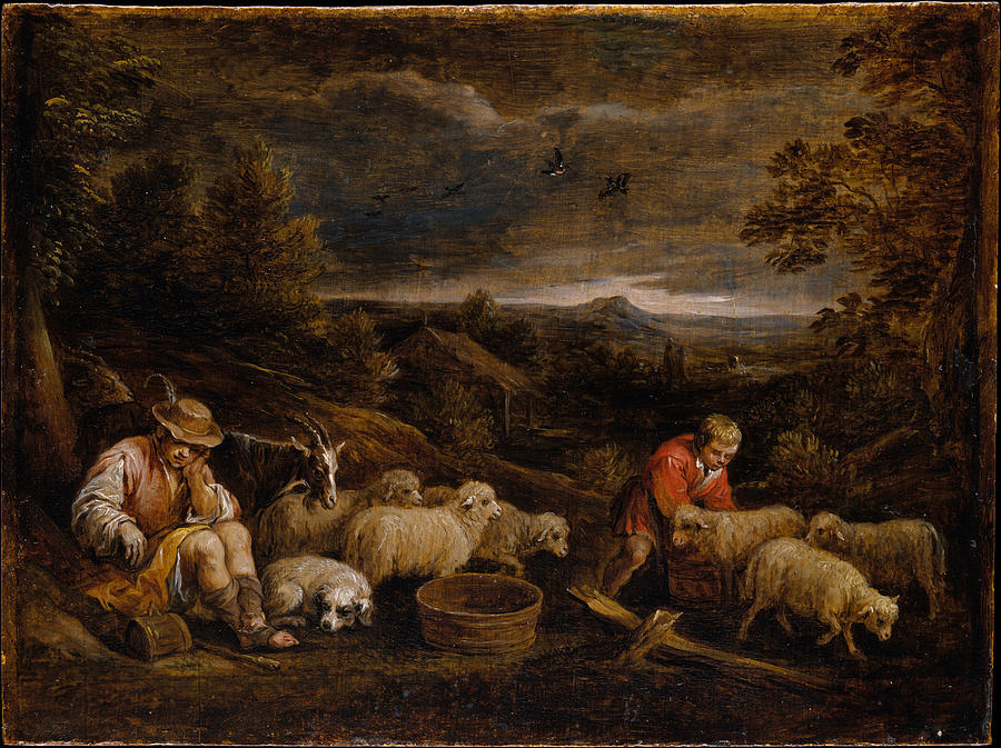 David Teniers The Younger Painting - Shepherds And Sheep  by David Teniers the Younger