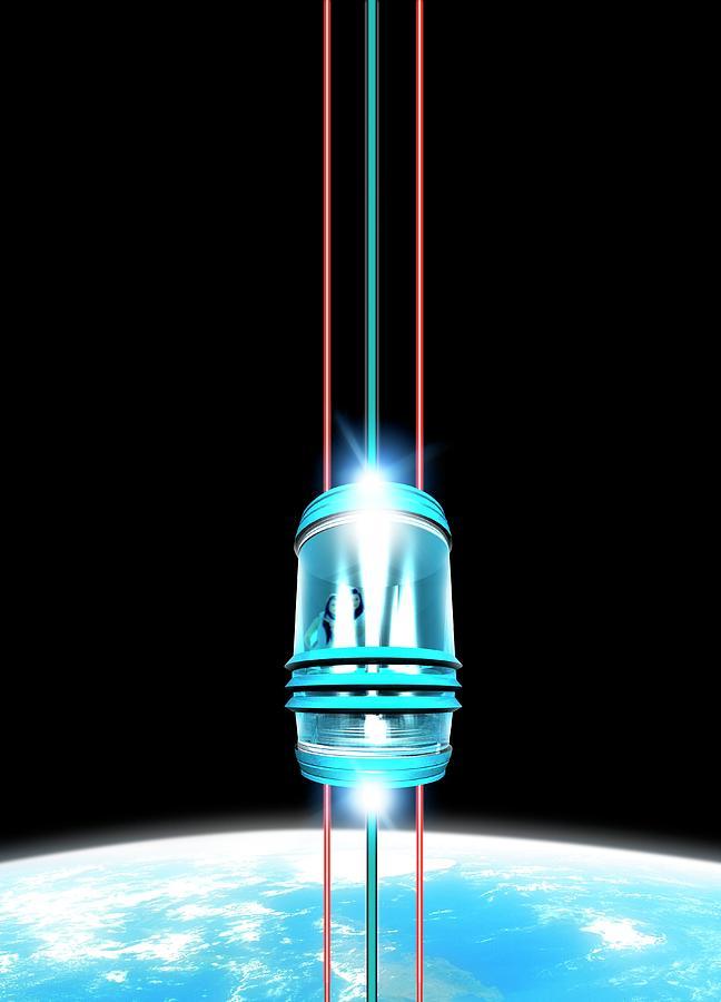 Space Elevator, Artwork Digital Art by Victor Habbick Visions
