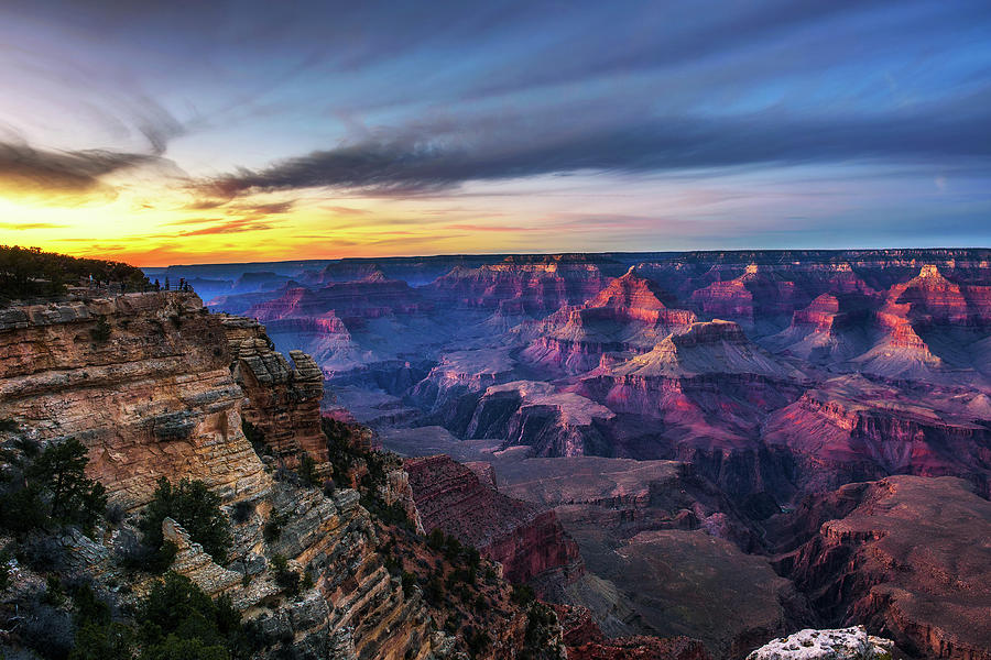 Sunset Above South Rim Of Grand Canyon From The Mather Point