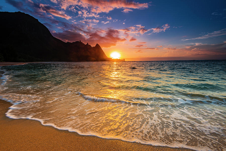 Alpine Photograph - Sunset Over The Na Pali Coast by Russ Bishop