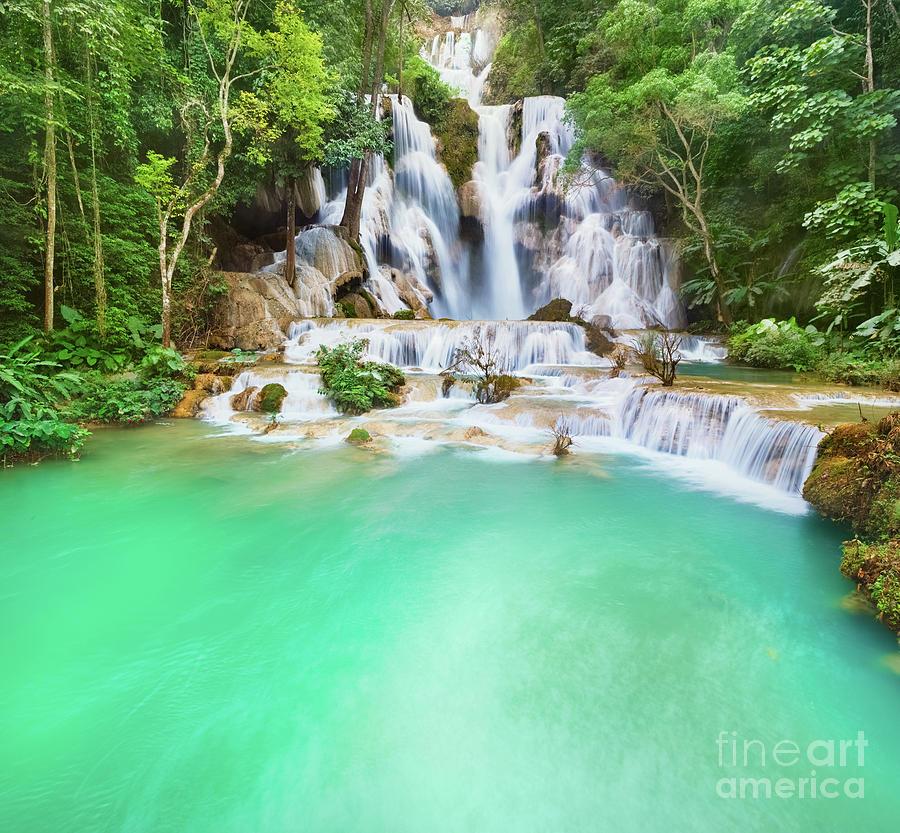 Tat Kuang Si Waterfalls. Beautiful Landscape. Laos. Photograph