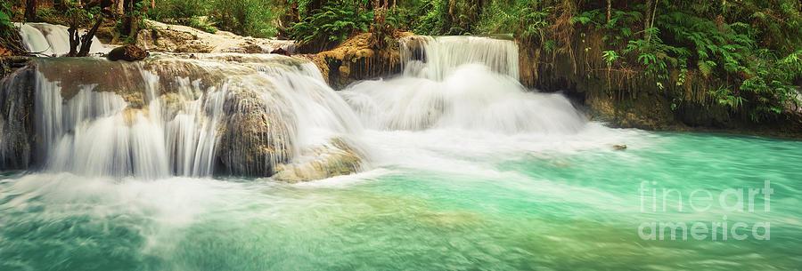 Waterfall Photograph - Tat Kuang Si Waterfalls. Beautiful panorama landscape. Laos. by MotHaiBaPhoto Prints