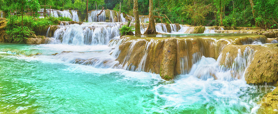 Tat Sae Waterfalls. Beautiful Landscape, Laos. Panorama Photograph