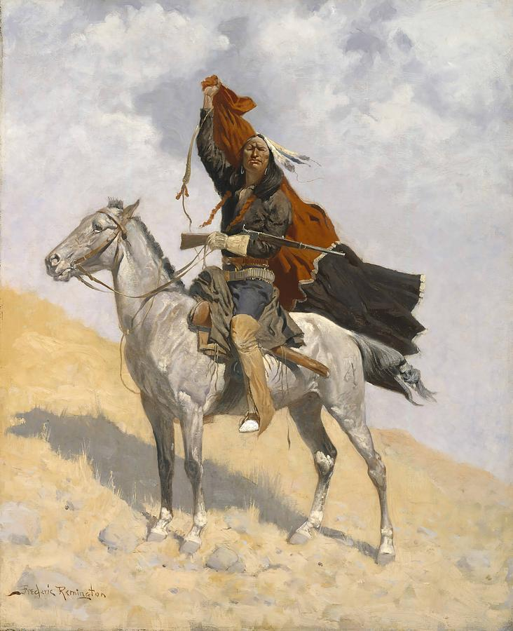 Remington Painting - The Blanket Signal by Frederic Remington