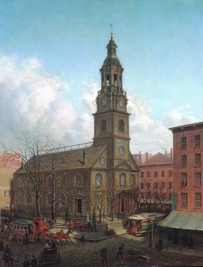 Edward Lamson Henry Painting - The North Dutch Church  Fulton And William Streets  New York  by Edward Lamson Henry