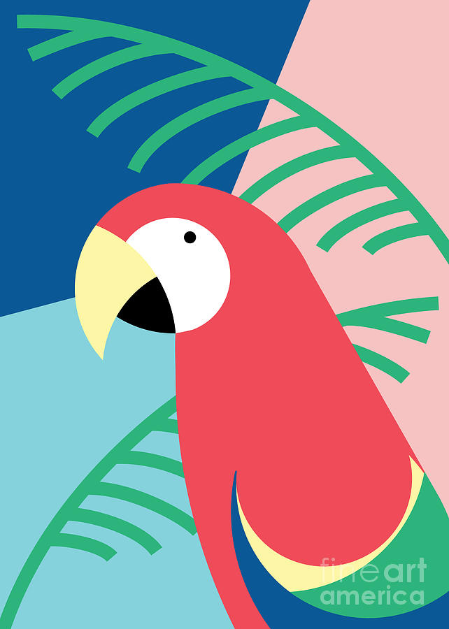 Template Digital Art - Tropical Bird In Abstract Geometric by Radiocat