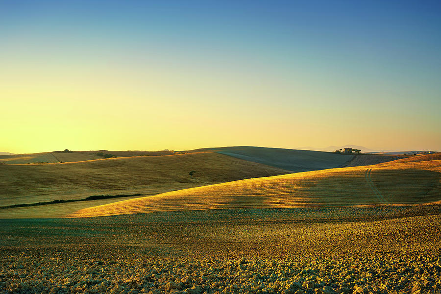 cea04727746e7 Tuscany Photograph - Tuscany Spring, Rolling Hills On Sunset. Rural  Landscape. Green by