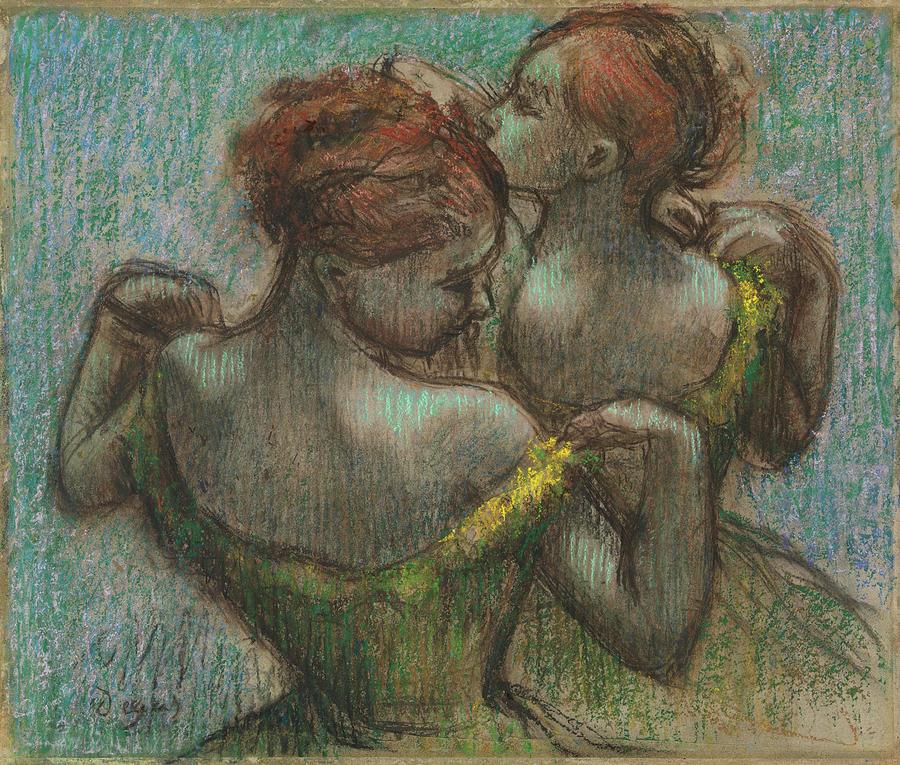 Two Dancers, Half-length. by EDGAR DEGAS