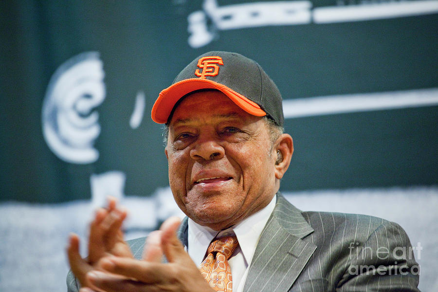 Willie Mays And The World Series Trophy Photograph by Michael Nagle