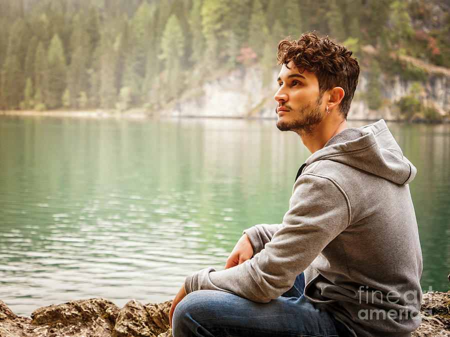 Young Man Relaxing In The Mountain Photograph