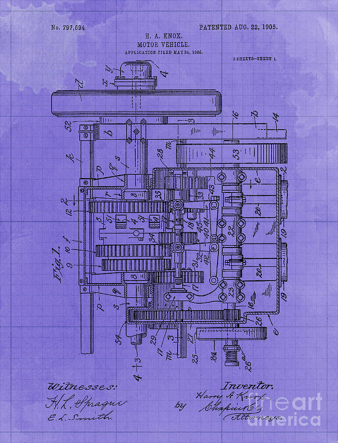 Motor Vehicle Patent Colored Vintage Art Print Year 1905 Blueprint Drawing