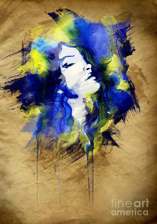 Woman Digital Art - Woman Face. Hand Painted Fashion 32 by Anna Ismagilova