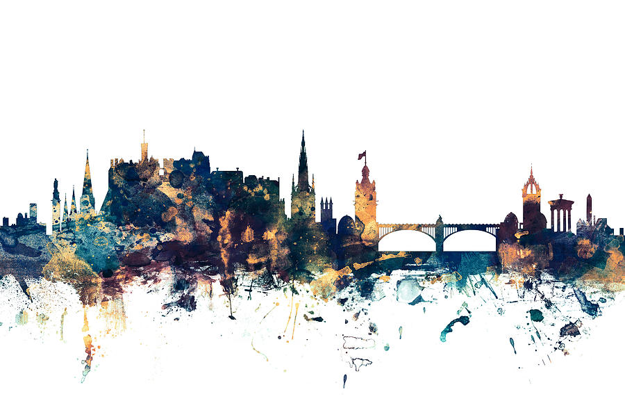 Edinburgh Digital Art - Edinburgh Scotland Skyline by Michael Tompsett