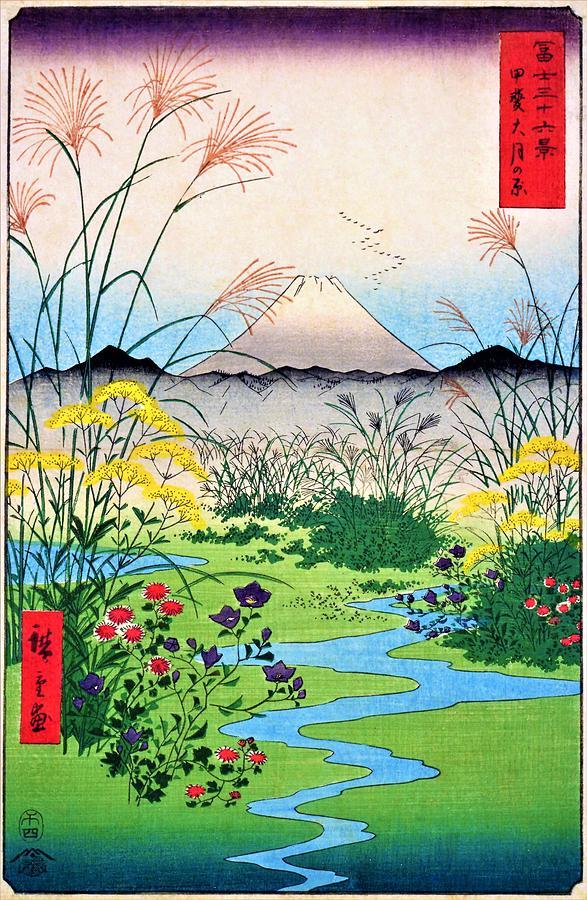 Utagawa Hiroshige Painting - 36 Views Of Mt.fuji - Kai Otsuki Field 36 by Utagawa Hiroshige