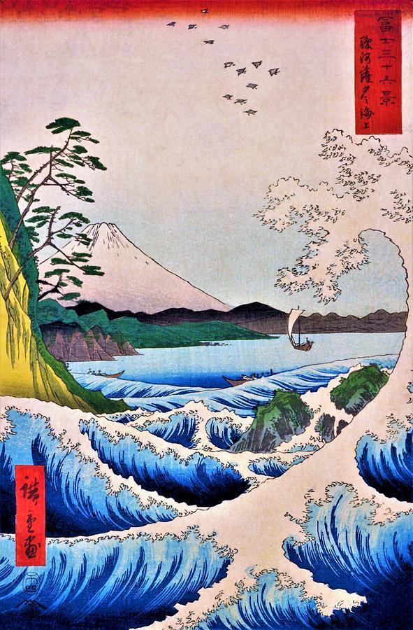 Utagawa Hiroshige Painting - 36 Views Of Mt.fuji - The Sea Satsuta At  In Suruga by Utagawa Hiroshige