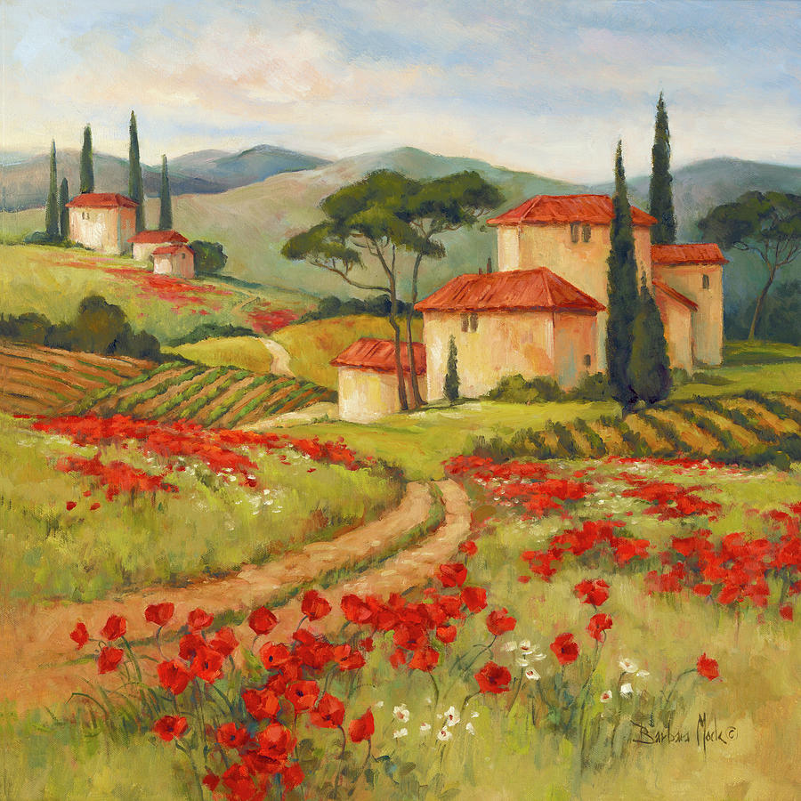 Outdoors Painting - 38814 Tuscan Dream II by Barbara Mock